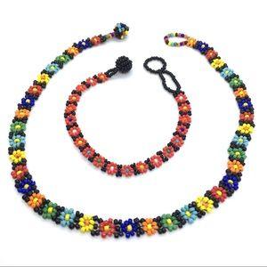 Hippie Seed Bead Choker & Bracelet